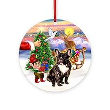 Treat - Brindle French Bulldog Ornament (Round)