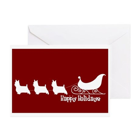 """Silky Terrier """"Sleigh"""" Greeting Cards (Package of"""