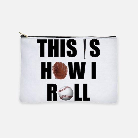 Baseball How I Roll Makeup Pouch
