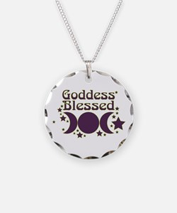 Goddess Blessed Necklace Circle Charm