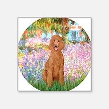 Garden/Std Poodle (apricot) Sticker