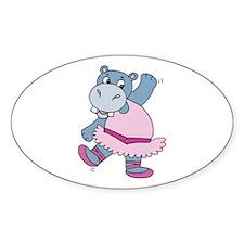 Ballerina Hippo Oval Decal