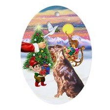 Santa's Treat for his Irish Setter Oval Ornament