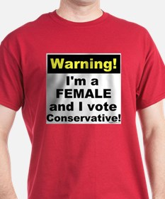 WARNING! Conservative Female Red T-Shirt