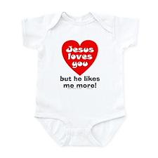 Jesus/Likes Me More Infant Bodysuit