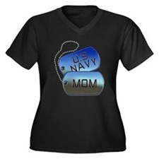 Navy Mom - Mother Dog Tag Women's Plus Size V-Neck