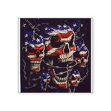 "All American Skulls Square Sticker 3"" x 3"""