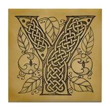 Celtic Letter Y Tile Coaster