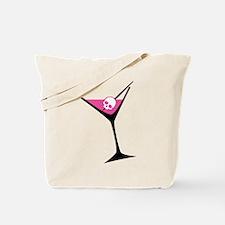 Pink Skull Martini Tote Bag