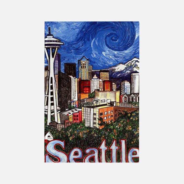 Seattle Skyline Rectangle Magnet