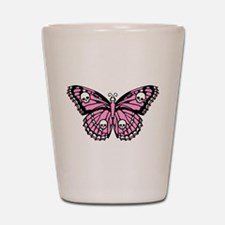 Pink Skull Butterfly Shot Glass