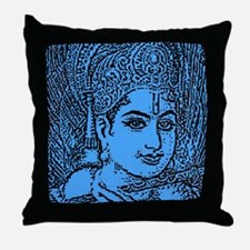 Blue Krishna Throw Pillow