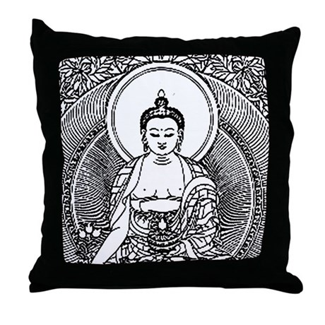 Black and White Buddha Throw Pillow