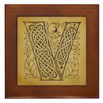 Celtic Letter V Framed Tile