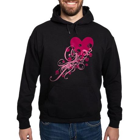 Pink Heart With Skulls And Swirls Hoodie (dark)