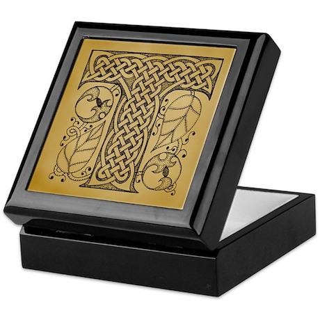 Celtic Letter T Keepsake Box