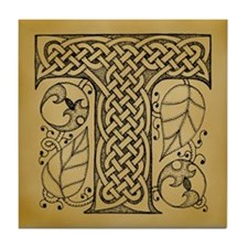 Celtic Letter T Tile Coaster