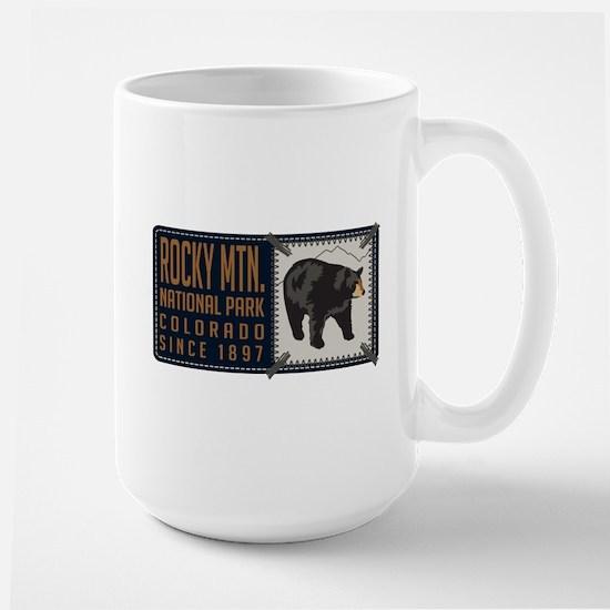 Rocky Mountain Black Bear Badge Large Mug