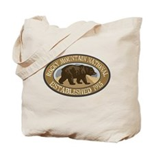 Rocky Mountain Brown Bear Badge Tote Bag