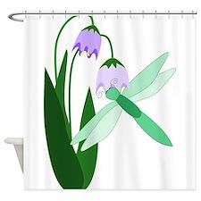 Dragonfly Purple Flower Shower Curtain