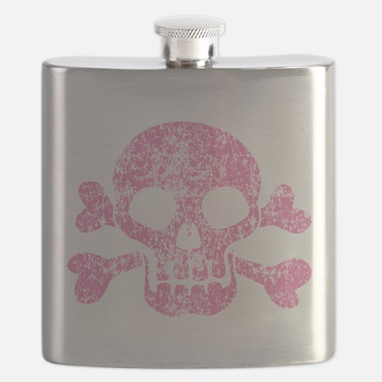 Worn Pink Skull And Crossbones Flask