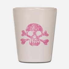 Worn Pink Skull And Crossbones Shot Glass