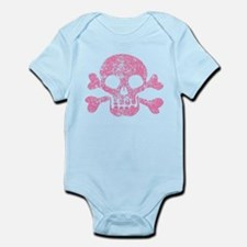 Worn Pink Skull And Crossbones Infant Bodysuit