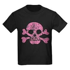 Worn Pink Skull And Crossbones T
