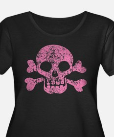 Worn Pink Skull And Crossbones T