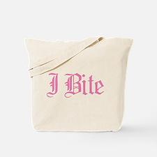 Pink I Bite Text Tote Bag