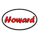 Red Howard Oval Sticker