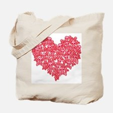 Pink Red Skull Heart Tote Bag