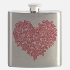 Pink Red Skull Heart Flask