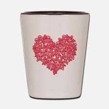 Pink Red Skull Heart Shot Glass