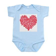 Pink Red Skull Heart Infant Bodysuit