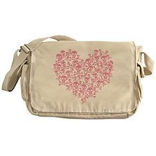 Pink Skull Heart Messenger Bag