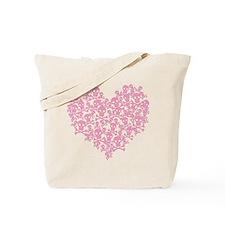 Pink Skull Heart Tote Bag
