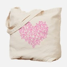 Pink Skull Heart Tote Bag
