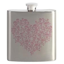 Pink Skull Heart Flask