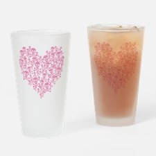 Pink Skull Heart Drinking Glass