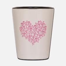Pink Skull Heart Shot Glass