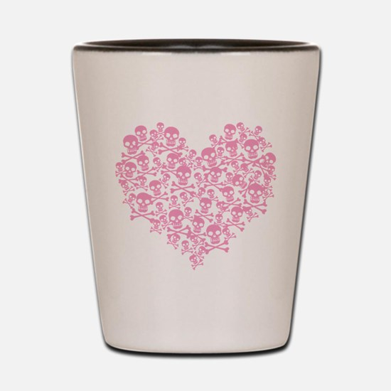 Pink Skull Heart Shot Glass