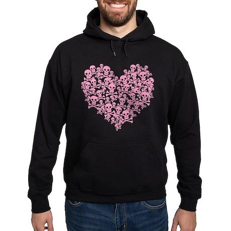 Pink Skull Heart Hoodie (dark)