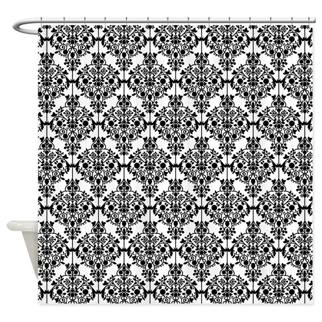 Black And White Damask Shower Curtain By Cheriverymery