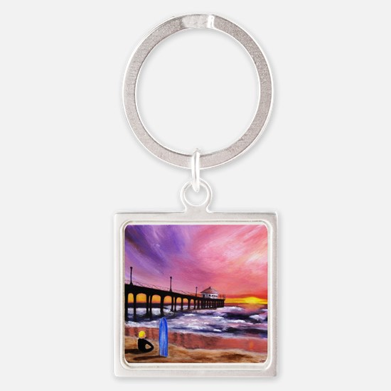 Manhattan Beach Pier Square Keychain