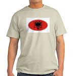 Albanian Oval Flag Ash Grey T-Shirt