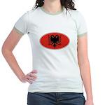 Albanian Oval Flag Jr. Ringer T-Shirt