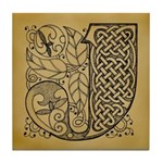 Celtic Letter J Tile Coaster
