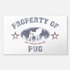 Property Of Pug Sticker (Rectangle)