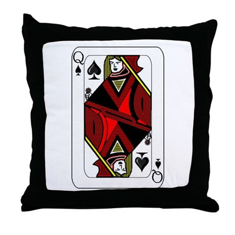Queen of Spades Card Throw Pillow